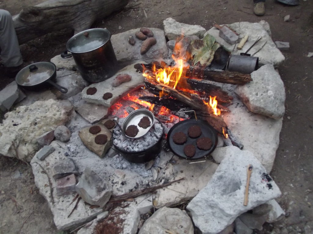 Cooking Mesquite Flatbread over a fire